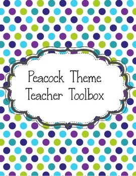 EditableTeacher Toolbox Peacock Lime Green, Teal,& Purple Stripes and Polka Dots