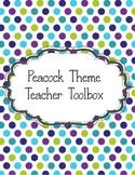 EditableTeacher Toolbox Peacock Lime Green, Teal,& Purple