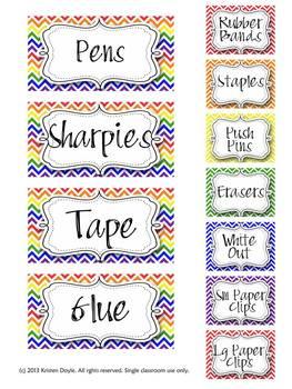 Teacher Toolbox - Rainbow Chevron theme (EDITABLE) - primary colors