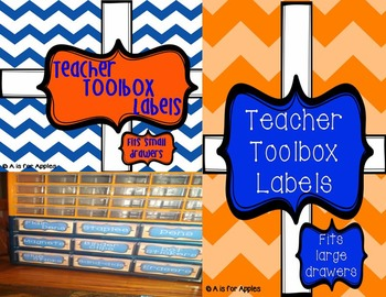 Teacher Toolbox Storage Labels - Orange & Blue {Editable}
