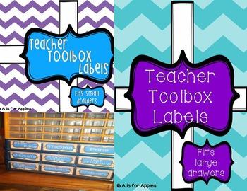 Teacher Toolbox Storage Labels - Purple & Teal {Editable}