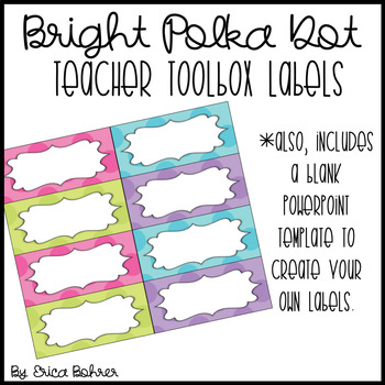 Teacher Toolbox Labels: Bright Polka Dot