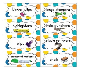 Teacher Toolbox Supply Labels: Dots on White
