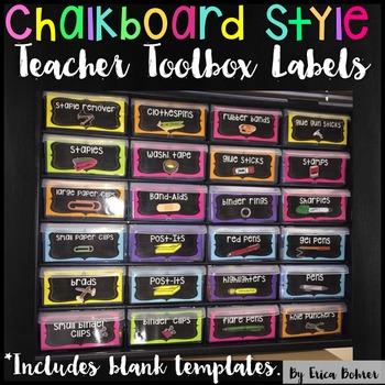 Teacher Toolbox Supply Labels: Chalkboard