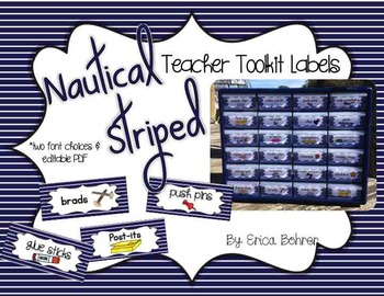 Teacher Toolbox Supply Labels: Nautical Stripes