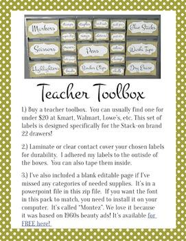 Teacher Toolbox Labels: (Editable) Lime