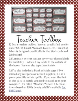 Teacher Toolbox Labels: (Editable) Red