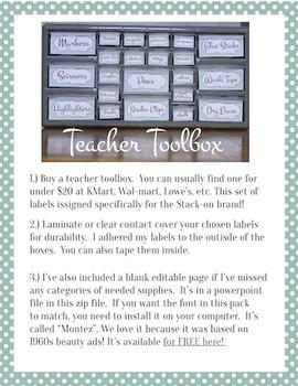 Teacher Toolbox Labels: (Editable) Teal