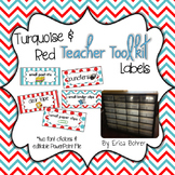 Teacher Toolbox Labels - Turquoise and Red