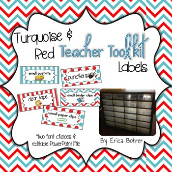 Teacher Toolbox Supply Labels - Turquoise and Red