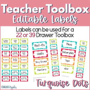 Teacher Toolbox - Editable Turquoise Dots Labels