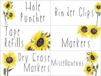 Teacher Toolbox Watercolor Sunflower Labels - EDITABLE!