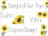 Teacher Toolbox Watercolor Sunflower Labels - EDITABLE!