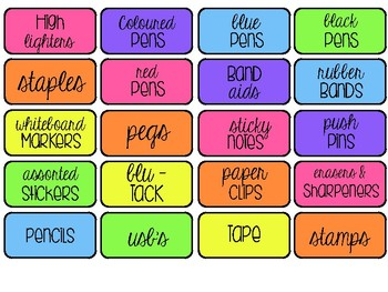 Teacher Toolbox 'colourful' Labels
