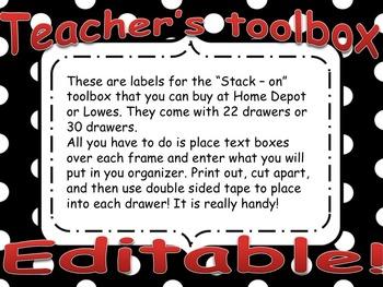 Teacher Toolbox labels - Red & Black Editable