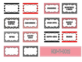 Teacher Toolbox labels - Red & Black