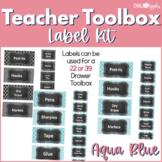Teacher Toolkit - Aqua Blue Chalkboard (Editable)