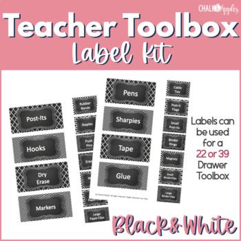 Teacher Toolkit - Black & White Chalkboard (Editable)