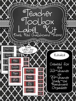Teacher Toolkit - Dark Red Chalkboard (Editable)