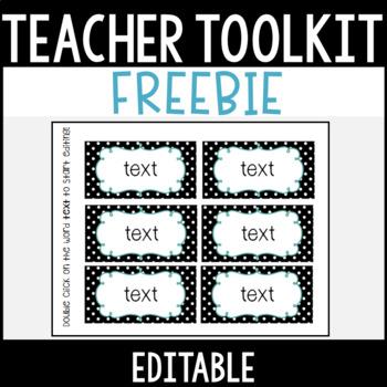 Editable Teacher Toolbox Labels FREEBIE