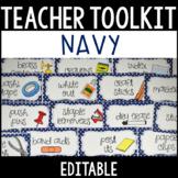 Editable Teacher Toolbox Labels with Clip Art - Navy