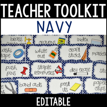 Editable Teacher Toolbox Labels with Clip Art - Navy