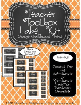 Teacher Toolkit - Orange Sherbet Chalkboard (Editable)