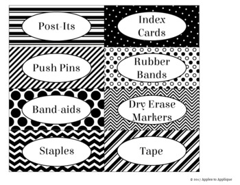 Teacher Toolbox Labels in Black and White Theme
