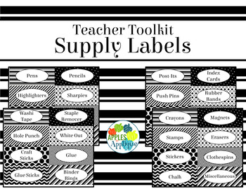 Teacher Toolbox Labels EDITABLE in Black and White Theme