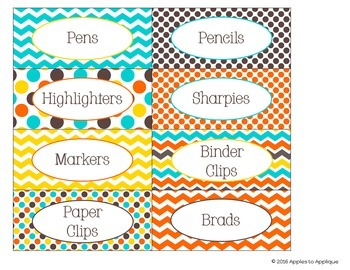 Teacher Toolbox Labels in Candy Colors Theme