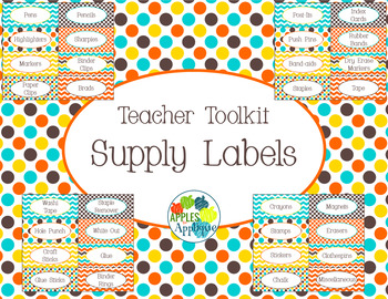 Teacher Toolkit Supply Labels in Candy Colors Theme