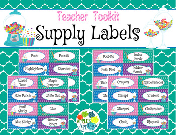 Teacher Toolkit Supply Labels in Candy Shop Theme