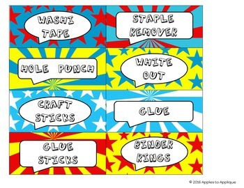 Teacher Toolbox Labels in Comic Book Theme