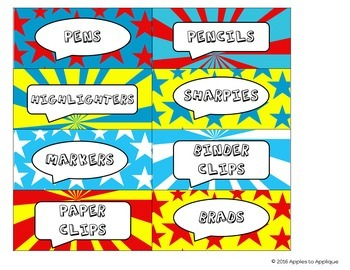 Teacher Toolbox Labels EDITABLE in Comic Book Theme