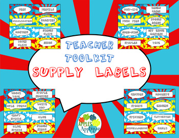 Teacher Toolkit Supply Labels in Comic Book Theme