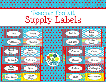 Teacher Toolkit Supply Labels in Primary Colors Theme