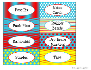 Teacher Toolbox Labels in Primary Colors Theme