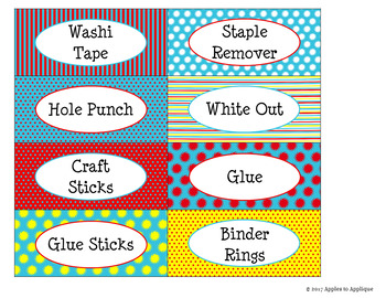 Teacher Toolbox Labels EDITABLE in Primary Colors Theme