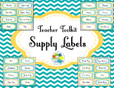 Teacher Toolbox Labels in Yellow Teal and Gray