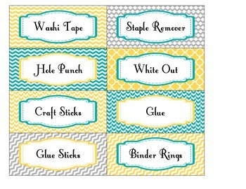 Teacher Toolbox Labels EDITABLE in Yellow Teal and Gray