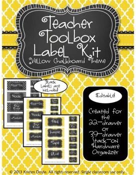 Teacher Toolkit - Yellow Chalkboard (Editable)