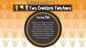 Teacher Tray Labels Monster Theme