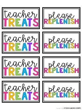 Teacher Treat Candy Jar Tags