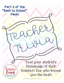 "Teacher Trivia- Part 2 of ""Back to School"" pack!"