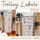 Teacher Rolling Cart Drawer Labels   Cactus Theme   Editable