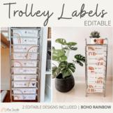 Teacher Rolling Cart Labels | Modern BOHO RAINBOW Neutral
