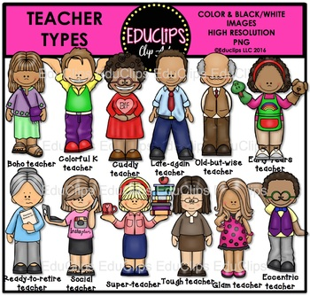 Teacher Types Clip Art Bundle {Educlips Clipart}