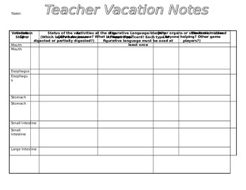 Teacher Vacation Writing Project