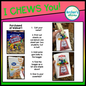Teacher Valentine Card for Students FREEBIE I CHEWS YOU!