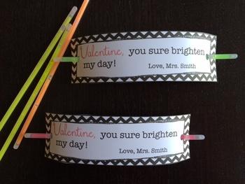 Valentine from Teacher - You Sure Brighten My Day (Glowstick)